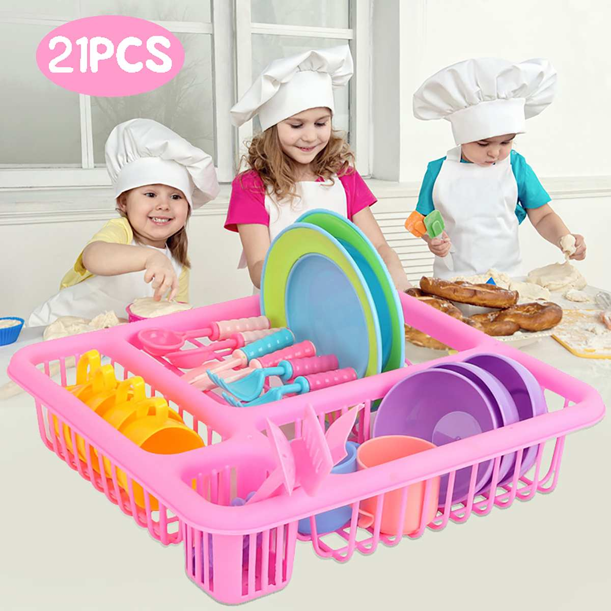 Kids Pretend Play Dishes Kitchen Playset Wash And Dry Tableware Dish Rack Toy With Drainer
