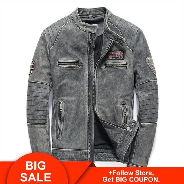 2020 Vintage Grey Men Slim Fit Motorcycle Leather Jacket Genuine Cowhide Autumn Biker's Leather Coat