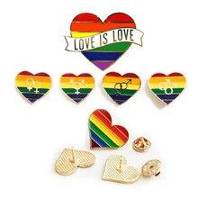 Значок с изображением ЛГБТ-радуги, эмалированные булавки в форме сердца, эмалированные булавки для геев, брошь в форме сердца, ювелирные изделия для мужчин и женщин, унисекс