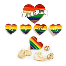 Pin Badge Rainbow-Lgbt Brooches Jewelry Pride-Pin Awareness Unisex Women Heart Gay