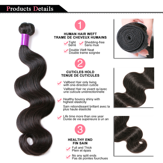 Vallbest Peruvian Body Wave Bundles 100% Remy Human Hair Extensions Natural Color 100G Machine Double Weft 3 Or 4 Bundle Deals 5