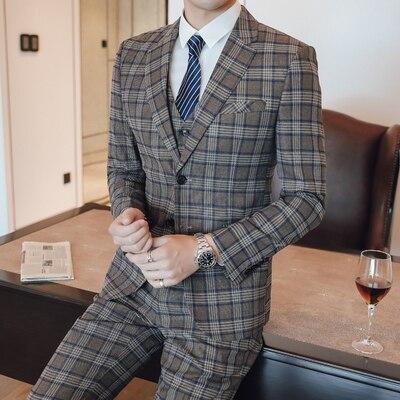 Мужской деловой костюм, смокинг, 3 предмета, мужской костюм для свадьбы, Terno Masculino, приталенный, хаки, костюм в клетку, Homme, костюмы для жениха, ... - 2