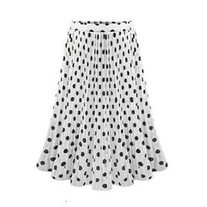 Image 2 - Женская плиссированная шифоновая юбка, пляжная юбка средней длины в горошек с эластичным поясом, 4XL, 5XL, лето 2019