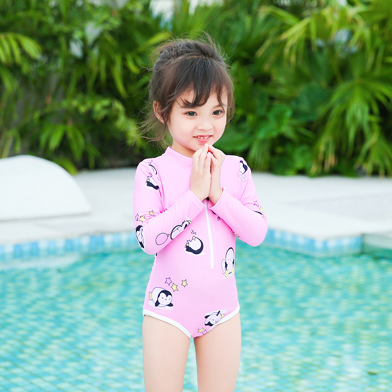 New Style One-piece KID'S Swimwear Girls Cute Cartoon Penguin Children Sun-resistant Long Sleeve One-piece CHILDREN'S Swimsuit