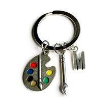 1Pcs Brush Palette A-Z Letter Name Keychain Fine Art Professional Painting Palette Student Palette Paint Pen Keychain Jewelry(China)