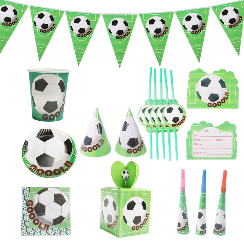 61Pcs/Lot Football Theme Birthday Party Tableware Set Napkin Cups Tablecloth Flag Straw Kids Favor Boys Party Decoration