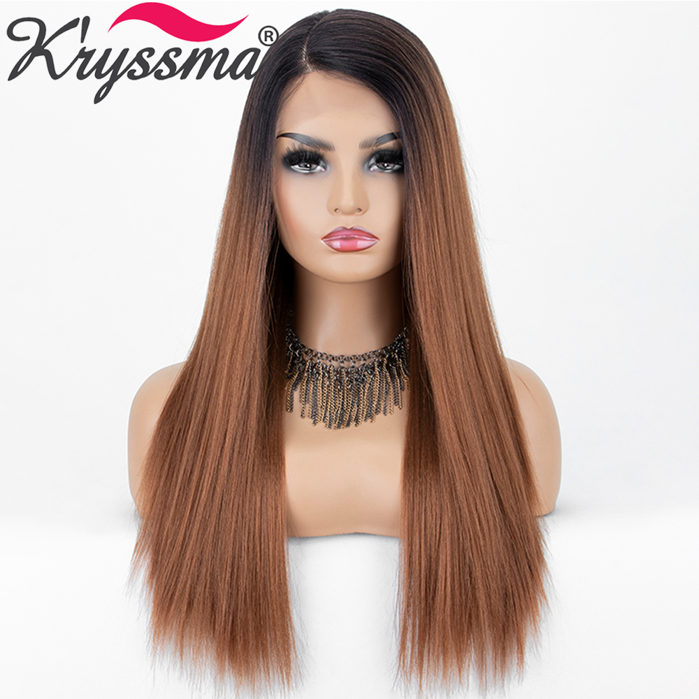 Long Straight Brown Wigs for Black Women Dark Roots Ombre Synthetic Lace Front Wigs Natural L Part Cosplay Wig K'ryssma