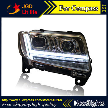 Car styling LED HID Rio LED Jeep Compass headlights case for Jeep Compass headlight 2011-2015 Bi-Xenon Lens low beam