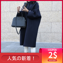 Korean Women Thin Overcoat Female Casual Loose Solid Color Outwear New Fashion Warmness Long Coats Spring Autumn Oversize Tops