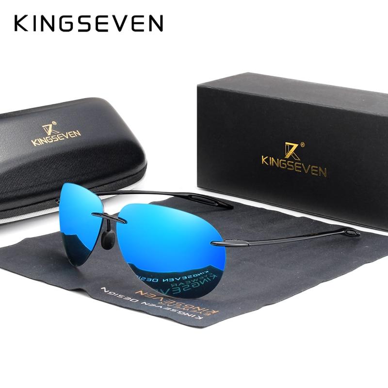 Солнцезащитные очки без оправы KINGSEVEN, черно-красные солнцезащитные очки без оправы, TR90, лето 2020