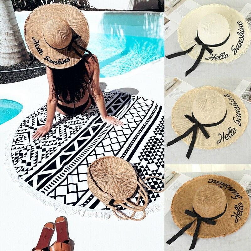Hat Summer Sun Visor Straw Cap Beach Foldable Women Wide up Lady Roll Summer Hat
