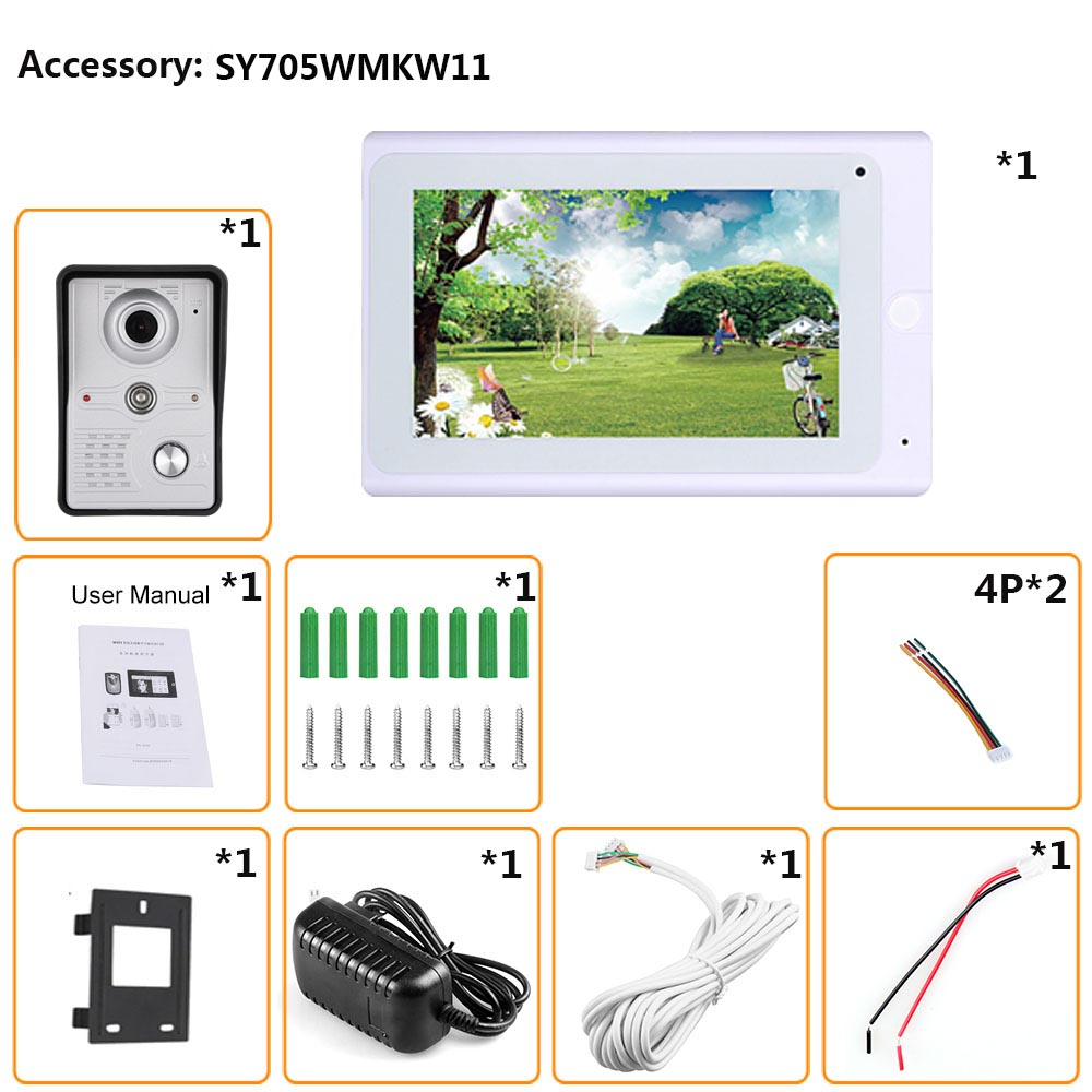 7inch Wireless/Wired Wifi IP Video Door Phone Doorbell Intercom Entry System with IR CUT HD 1000TVL Wired Camera Night Vision - 6