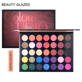 Beauty Glazed 35 Color Studio Matte & Shimmer Eye Shadow, Highly Pigmented Makeup Palette, Long Lasting Eyeshadow Palette beauty glazed makeup eyeshadow palette shimmer matte pigmented pallete long lasting waterproof eye shadow 14 color