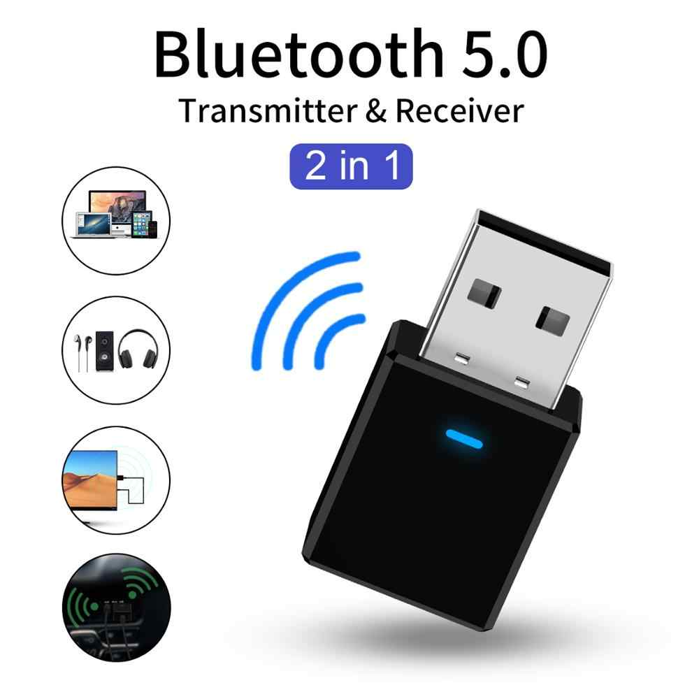 Bluetooth 5.0 Car Kit Ontvanger Zender Stereo Bluetooth AUX USB 3.5mm Jack Audio Voor TV PC Auto Bluetooth Draadloze adapter