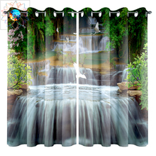 Double Bedroom Curtains Boho 3D French Window Waterfall Bird Forest Wall Blackout Curtain Living Room Gordijnen