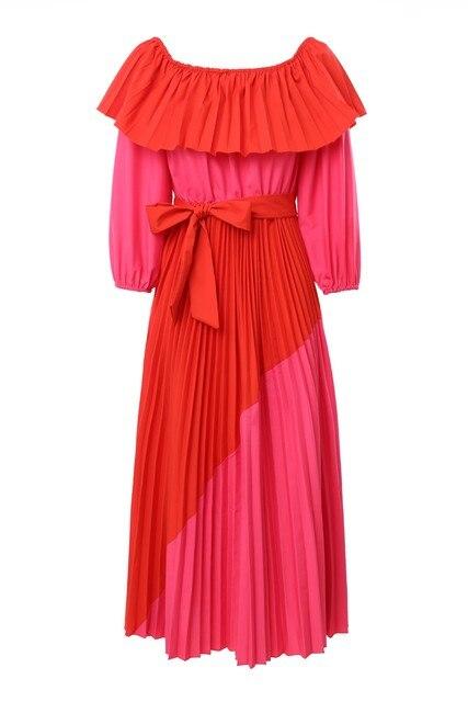 Women Slash Neck Off The Shoulder Dresses Women Plus Size Summer red Ruffles Bandage Patchwork Pleated belt big Long Dress 3