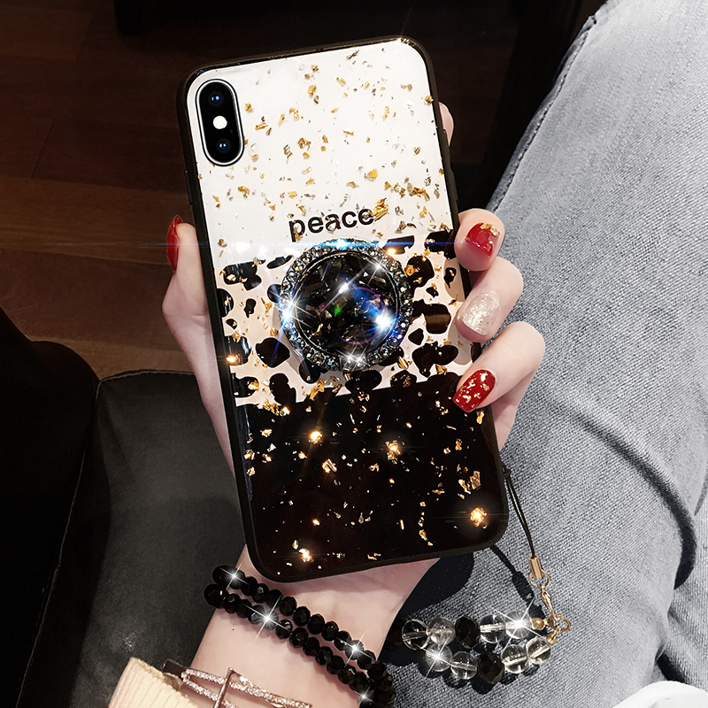Leopard-print Luxury 3D glitter Drill Case For iPhone 6 7 8 Plus X XR Xs Max Crystal Holder For Samsung S8 S9 S10 Note 8 9 Cover image