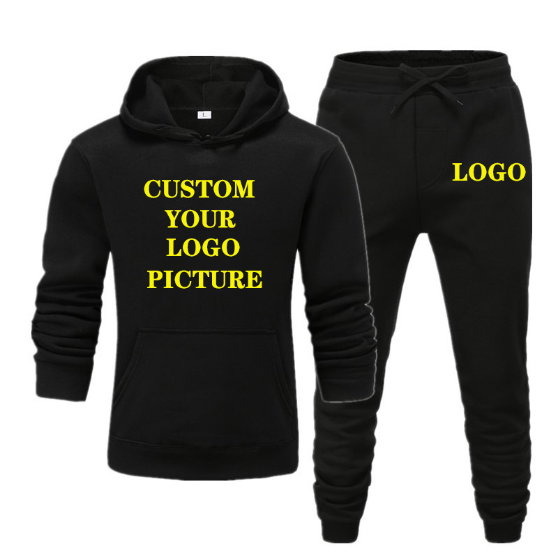 New Brand Men Track Suit Jogging Sportswear Set Autumn Winter Fahion Printed Hoodies Pants Suit Custom Your Logo