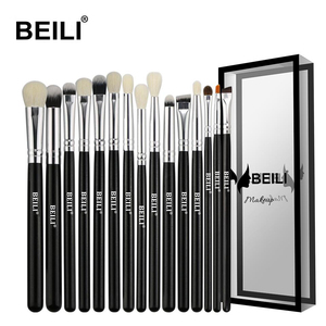 BEILI Black 15Pcs Makeup brushes Natural Goat Pony hair Eye shadow Blending Eyeliner Eyebrow Smokey shade brush set(China)
