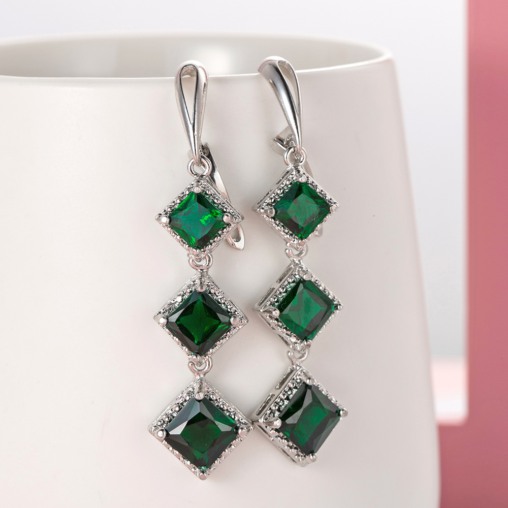 Fashion Tassel Earrings Chain 925 Sterling Silver Stackable Square Cut Earrings For Women Pendientes Oorbellen Brincos Jewelry