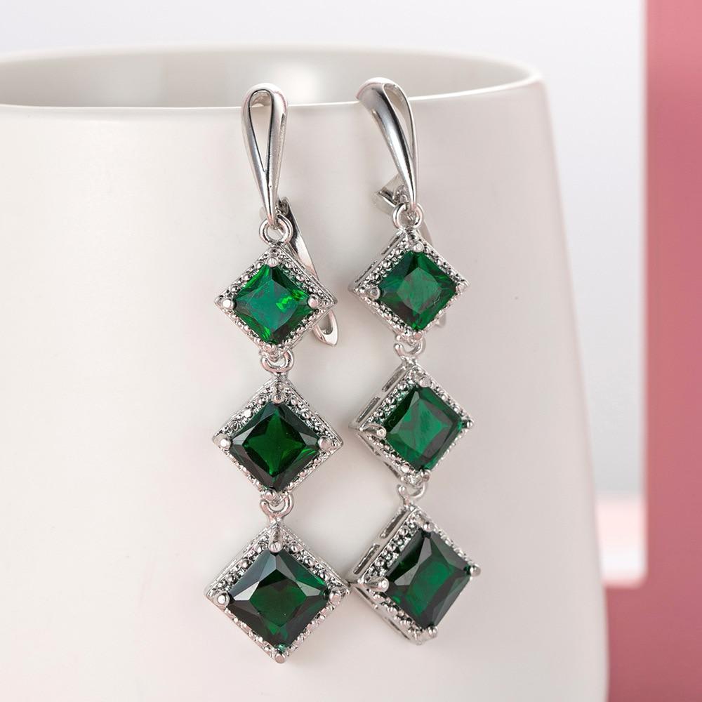 Fashion Tassel Earrings Chain 925 Sterling Silver Stackable Square Cut Earrings For Women Pendientes Oorbellen Brincos Jewelry
