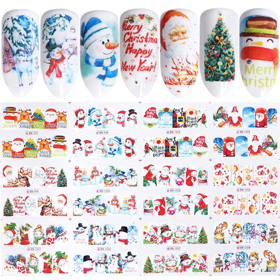 Image 2 - 12 pc Stickers On Nails Snowman Elk Christmas Adhesive Foil Decals Water Sliders For Winter Nail Art Decor Manicure set LABN/A 1-in Stickers & Decals from Beauty & Health