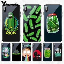 Yinuoda Rick Morty Pickle DIY Printing Special Offer Tempered glass Phone Case Cover for Apple iPhone 8 7 6 6S Plus X XS MAX XR