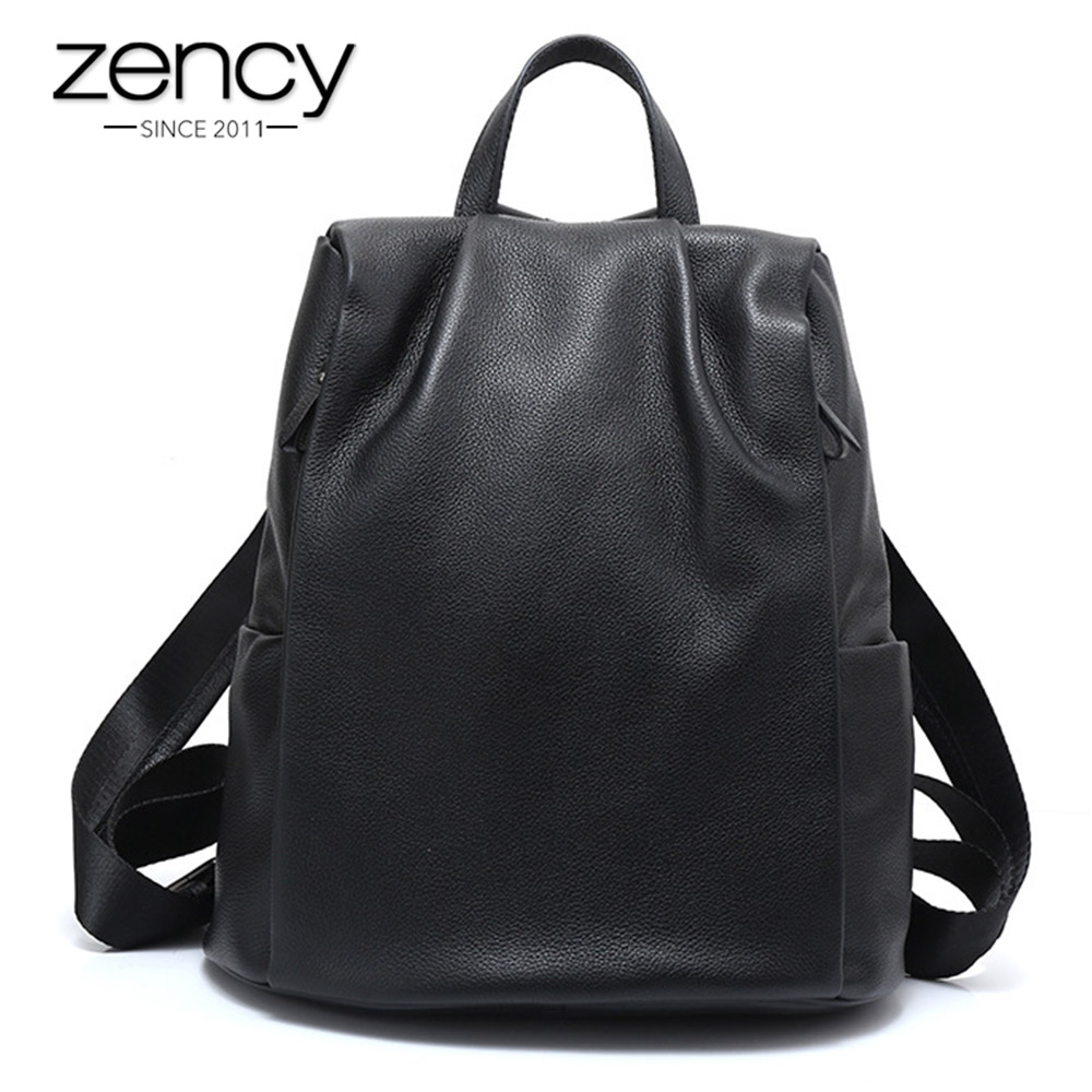 Zency Anti-theft Women Backpack 100% Genuine Leather Black Travel Bag Big Schoolbag For Girls Fashion Female Knapsack Laptop