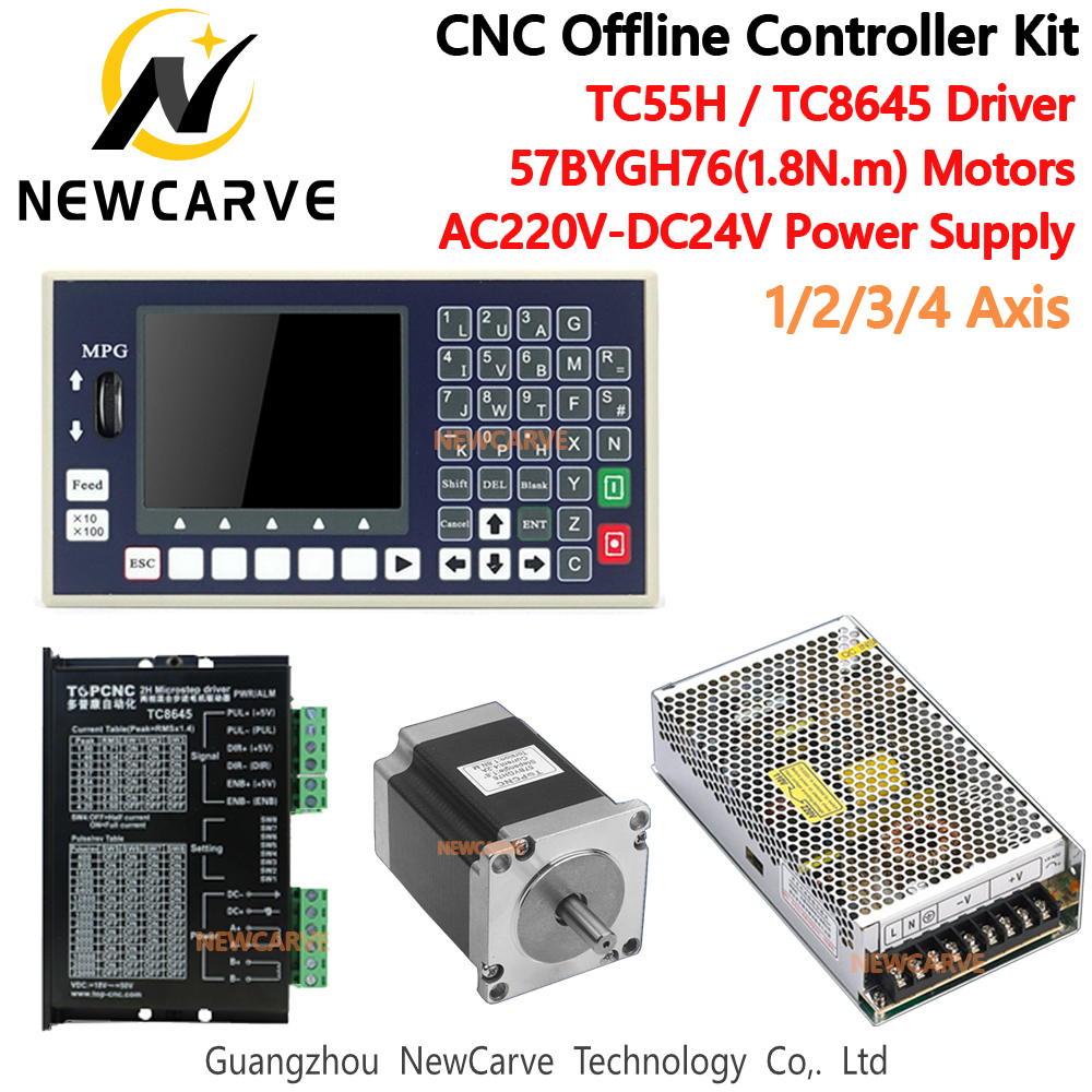 CNC Controller Kit TC55H 1/2/3/4 Axis Offline Control TC8645 Hybrid Driver + 1.8N.m Stepper Motor  + Power Supply NEWCARVE