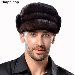 Мужская зимняя меховая шапка, модная зимняя меховая шапка из меха норки, теплая Рождественская шапка, подарок для шоу, мужская шапка, беспла...
