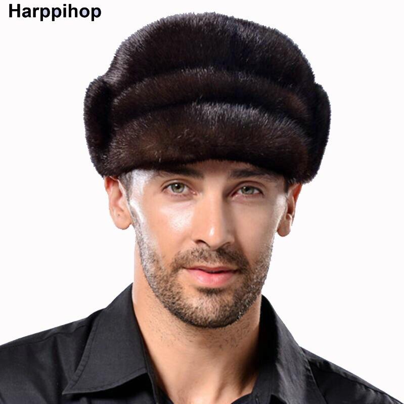 Men Winter Fur Hat Fahsion Mink Fur Winter Down Warm Christmas Gift Show Cap Male Hat Free Shipping