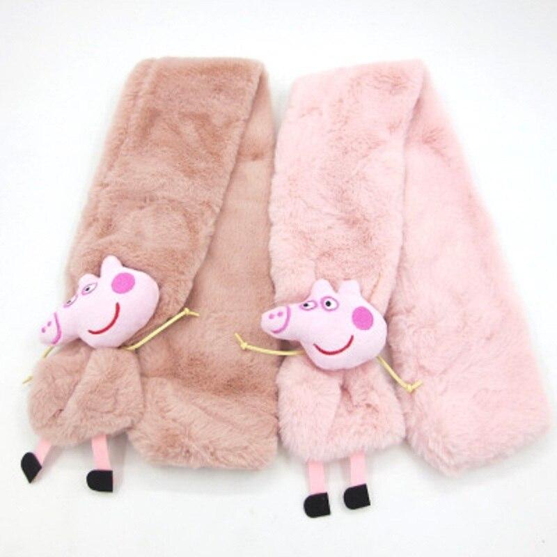 Peppa 돼지 만화 조지 단색 플러시 어린이 스카프 장난감 peppa 돼지 어린이를위한 최고의 따뜻한 스카프 장난감 생일 선물