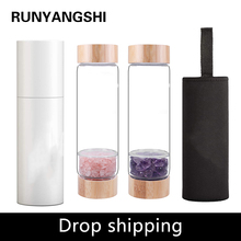 Drop shipping Natural Crystal Water Bottle Healing Obelisk  Elixir Quartz Crystal Energized Healthy Drinking Glass Bamboo water