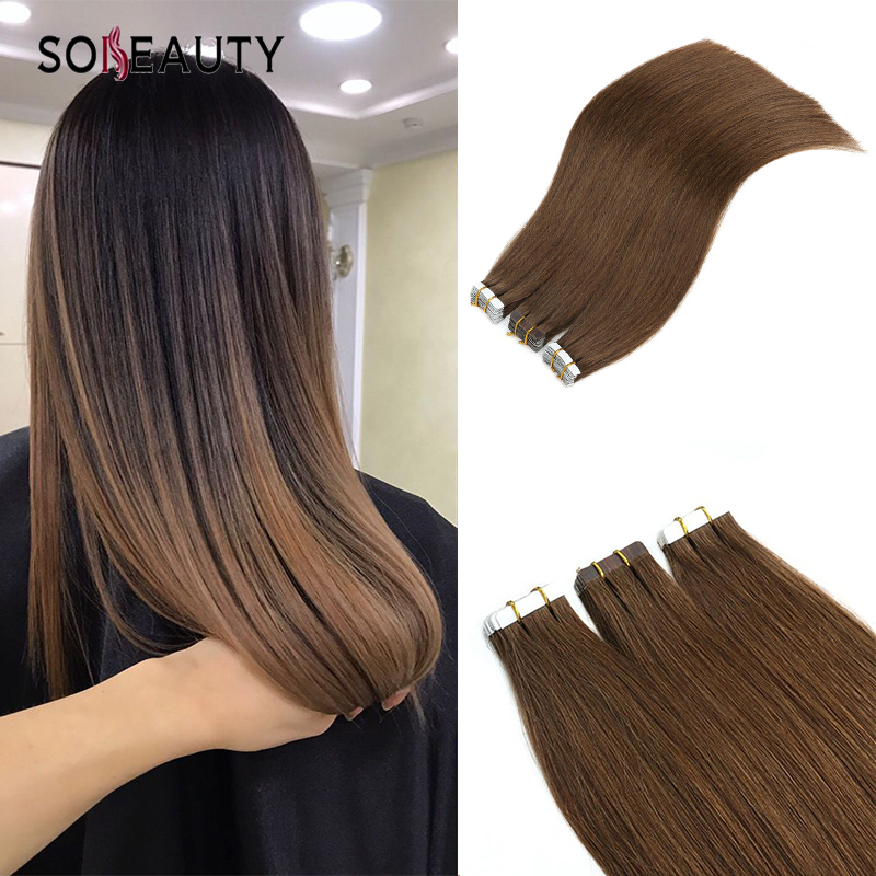 Sobeauty Tape In Human Hair Extensions 20ps/pack Silky Straight  Skin Weft 4# Brown Color Remy Hair Extension Double Drawn Hair