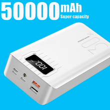цена Power Bank 50000mah 18650 External Battery PoverBank 2 USB LED Powerbank Type-c Portable Mobile phone Charger for Huawei Xiaomi