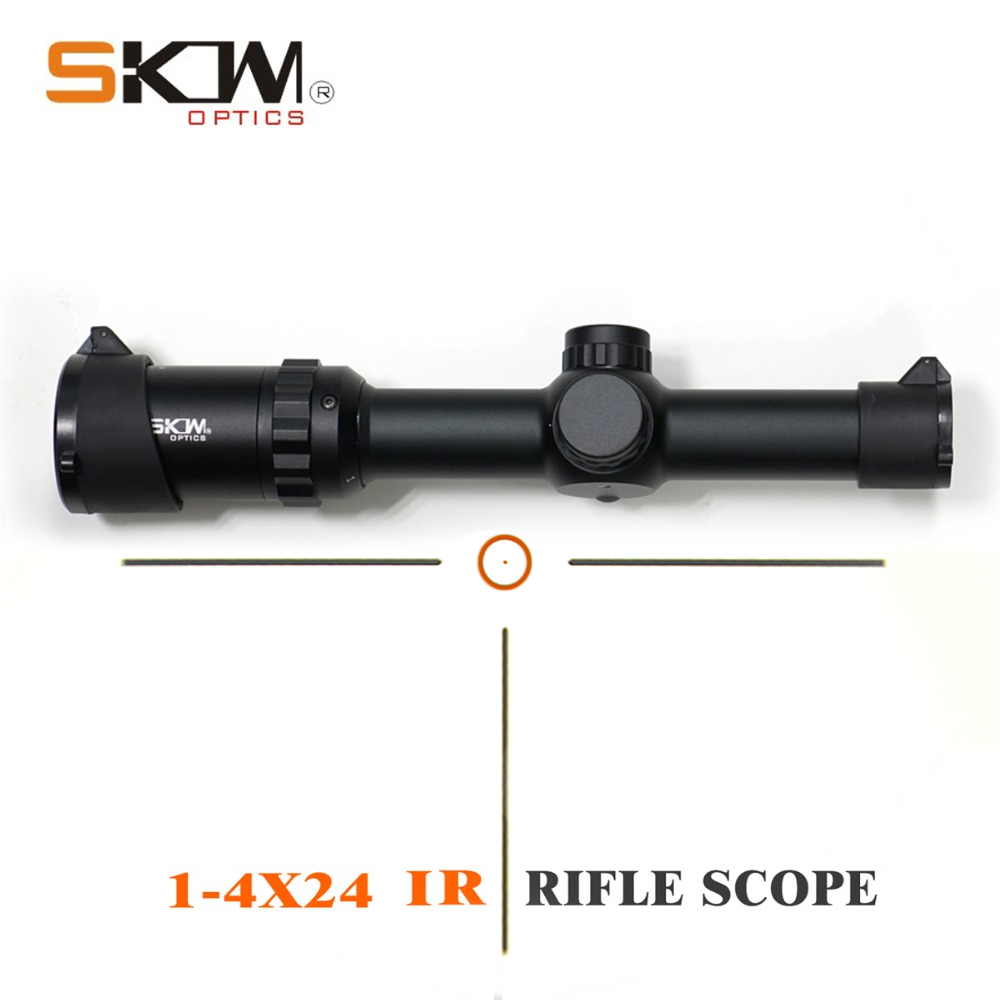 SKWoptics 1-4x24IR Tactical Rifle Scope Hunting Tactical Riflescope Sight .223 .308 Ar15 Scope AK