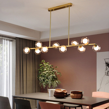 Nordic Modern Simple Clear Glass Bubble Ball Long Strip Chandeliers Minimalist Creative Hanging Lights Magic Bean Iron Art Lamp nordic chandeliers creative postmodern magic beans art restaurant simple glass ball branches tree twig molecules living room led