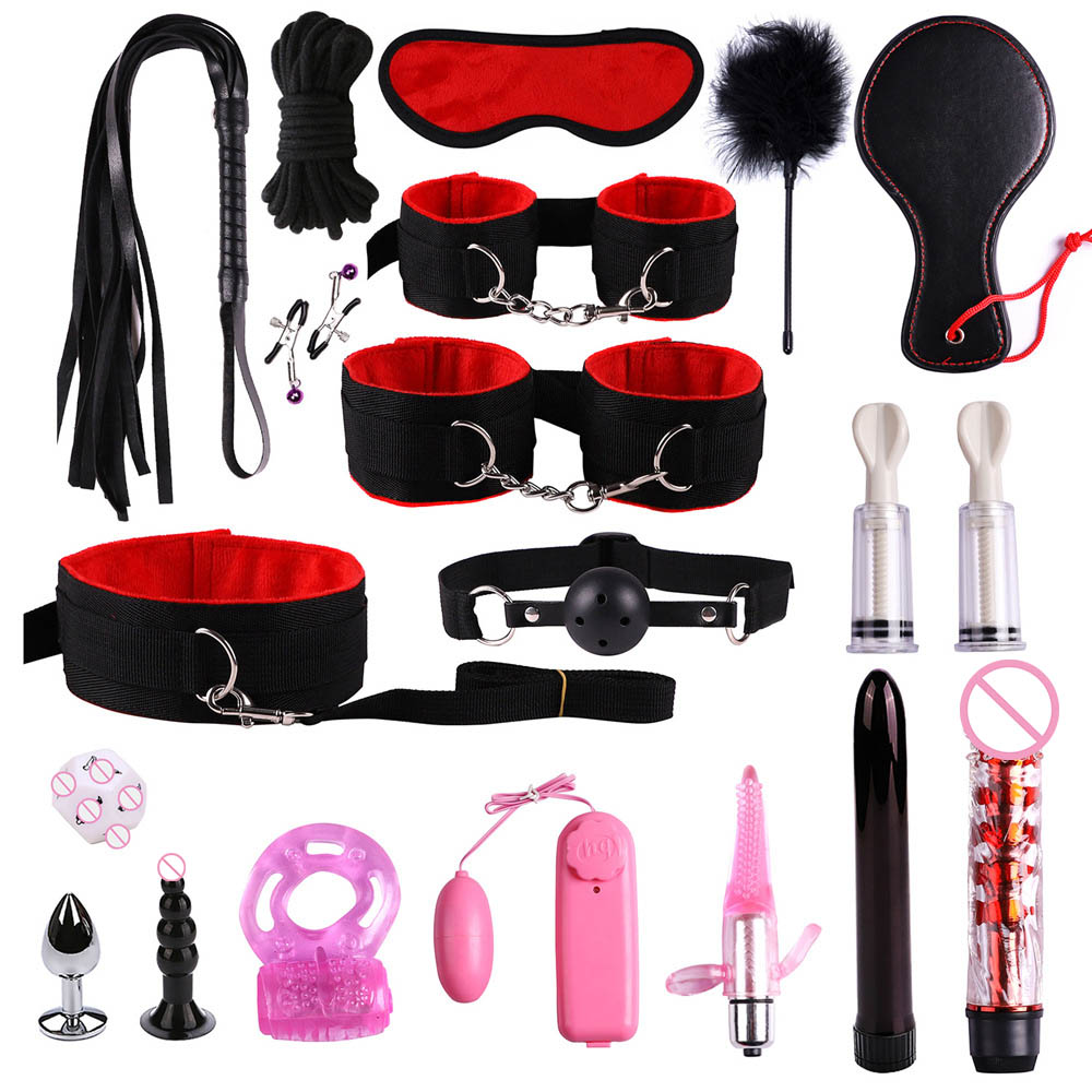 19 Pcs Sexy Adult Product For SM Game Suit Bondage Set Adult Handcuffs Ball Mouth Plug Nylon Whip Kit For Couple Sex Toys