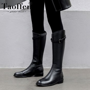 Taoffen Women Real Leather Rivets Buckle Knee High Boots Flats Sexy Office Knight Boots Daily Party Outdoor Footwear Size 34-43