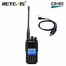 Double bande DMR numérique rechapé RT3S talkie walkie UHF VHF Radio GPS DCDM TDMA jambon Radio Staion double fente horaire VOX + câble