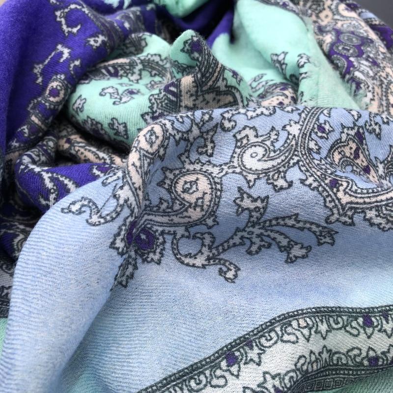 2019 nouveau Paisley impression écharpe femmes Pure cachemire foulards femme Bandana hiver doux châles enveloppes dame de luxe écharpe 200*100cm - 4