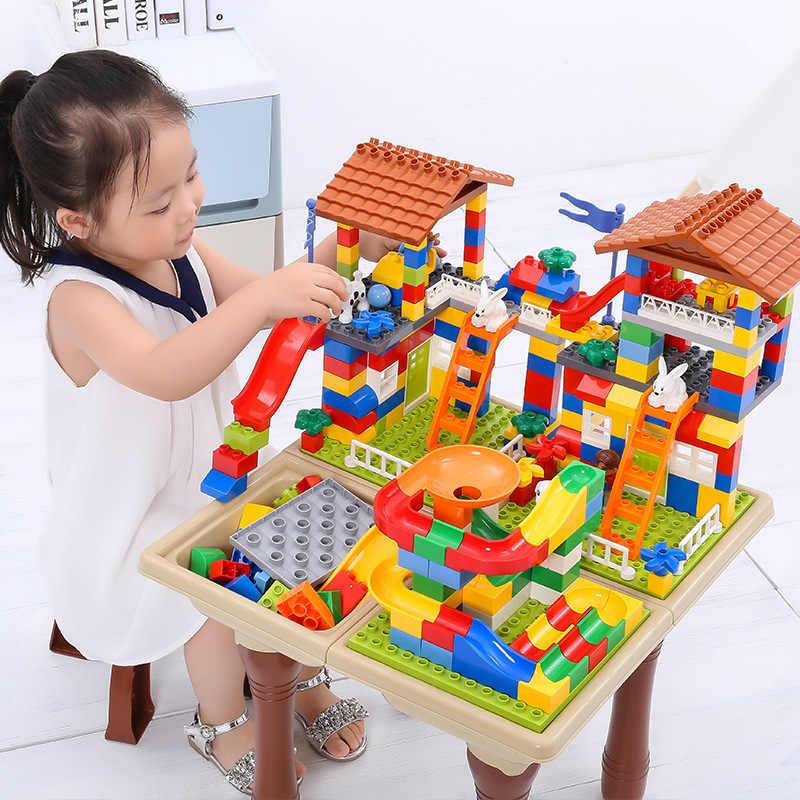 Dom zamek z klocków zabawki dla dzieci duży blok cząstek Race Run bloki ślizgowe kompatybilne Duploed Legoingly City Blocks