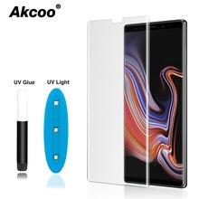 Akcoo Note 8 proteggi schermo in vetro temperato con colla UV per Samsung Galaxy S8 9 note 8 9 copertura completa con foro per auricolare tagliato
