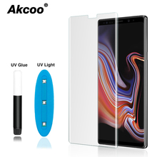 Akcoo Note 8 screen protector UV Full Glue Tempered Glass for Samsung Galaxy S8 9 note 8 9 full cover with earpiece hole cut out