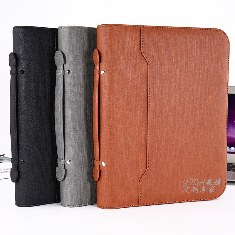 A4 Multifunctional File Folder Business Portable Zipper Bag Flyer Manager Folder Pu Portfolio Calculator Sales Folder  Files Bag