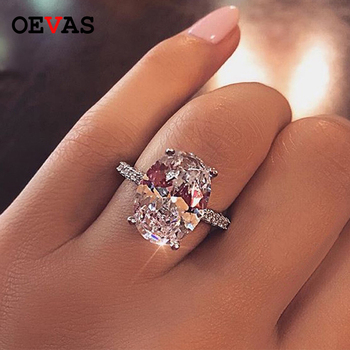 OEVAS Classic 100% 925 Sterling Silver 9 CT Oval Created Moissanite Gemstone Wedding Engagement Ring Fine Jewelry Gift Wholesale shipei created moissanite heart ring for women fine jewelry 100% 925 sterling silver love heart ring anniversary valentines gift
