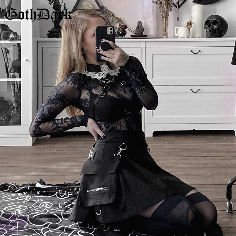Goth Dark Streetwear Pleated Skirt Summer Punk Fashion Grunge Buckle Patchwork Zipper A-Line Skirts Women Club 2020 Gothic