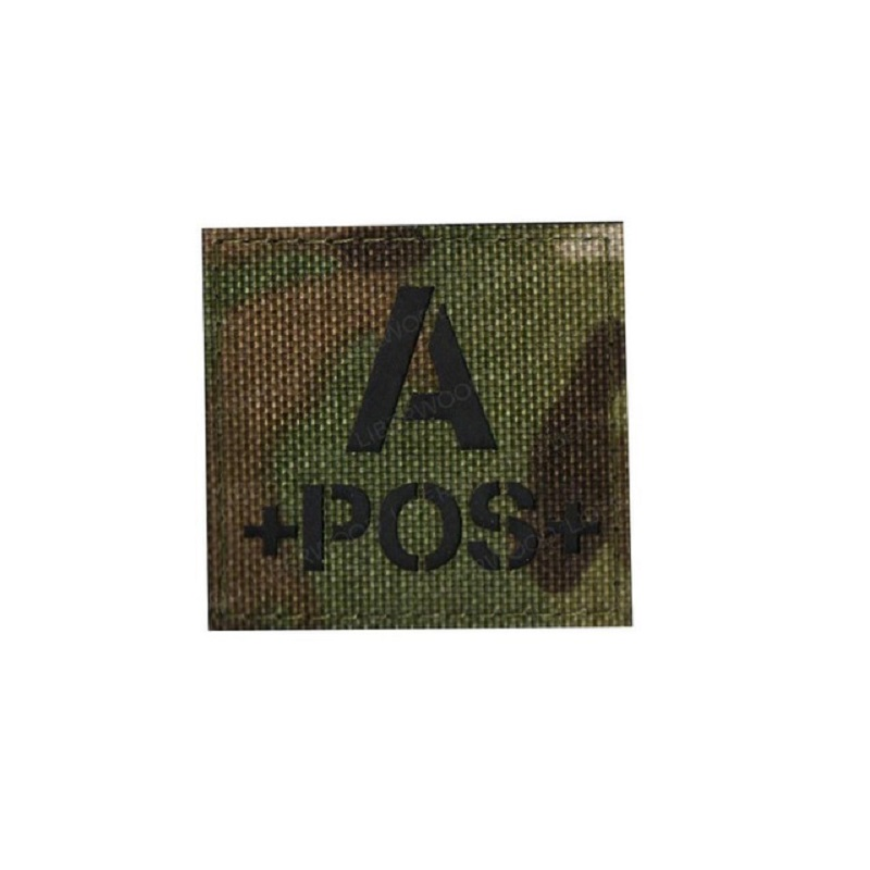 blood type A+ B+ O+ AB+ POS Positive IR patch for backpacks morale tactical patches Reflective luminous  badge with hook loop (3)