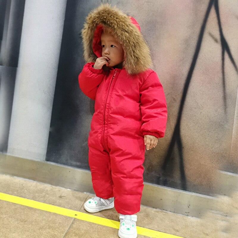 Зимний комбинезон для малышей, пуховая куртка Детский Теплый пуховый костюм ветрозащитное плотное пальто для мальчиков куртка пуховик для девочек 90% утиный пух