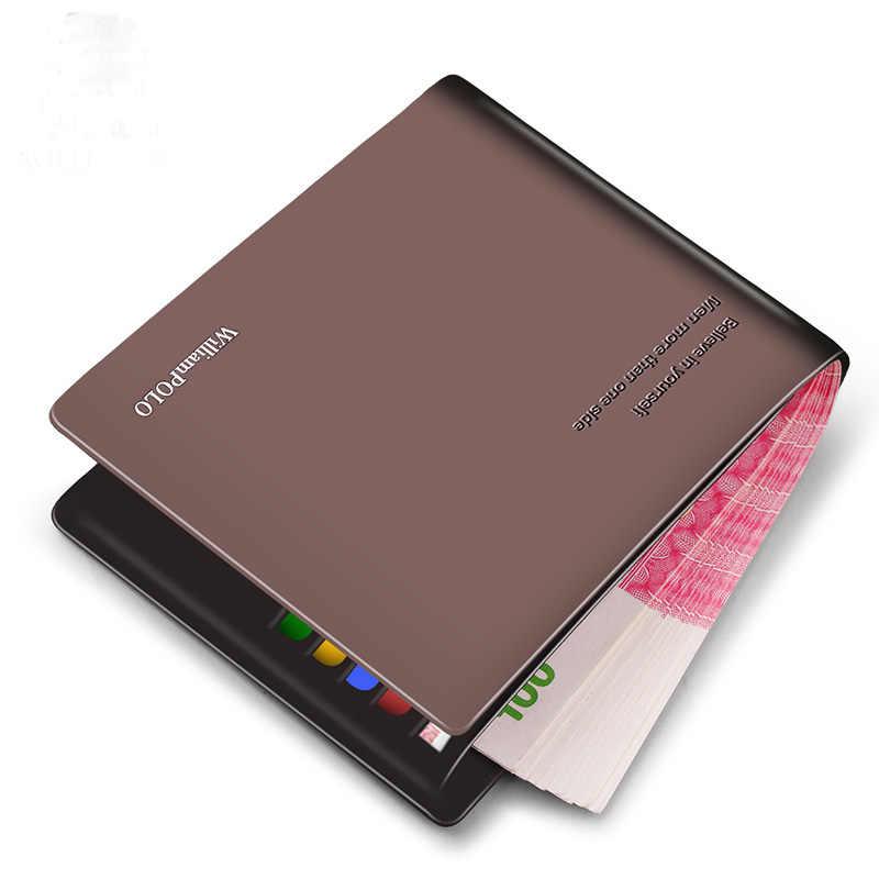 Carteira de couro de couro de luxo marca carteiras de couro escritório masculino carteira homem maduro bifold carteira pequena bolsa pl171321-2
